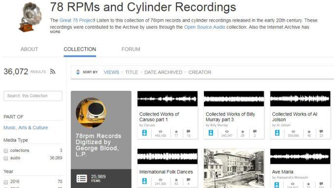 Archivio online delle registrazioni dei dischi 78 giri