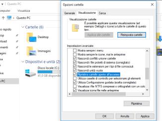Windows 10 ripristinare la cartella aperta dopo il riavvio