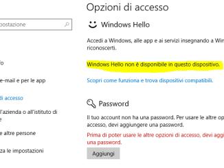 Windows hello non è disponibile in questo dispositivo