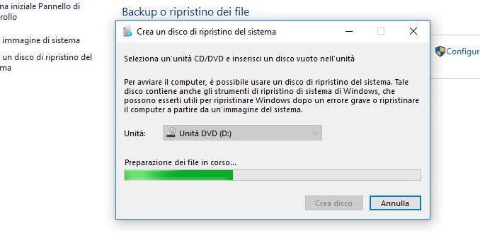 Crea un disco di ripristino windows 10