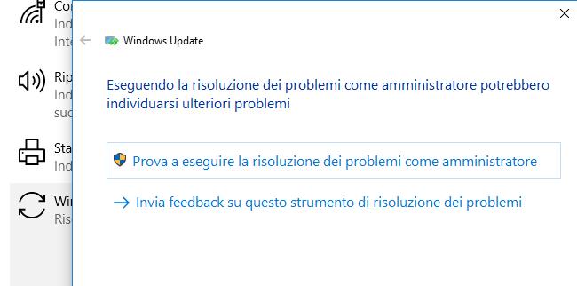 Non è possibile connettersi al servizio di aggiornamento