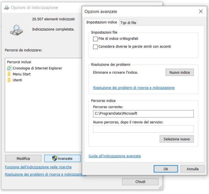 Windows opzioni di indicizzazione