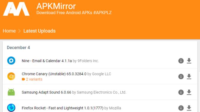 Come avere le app per android in anteprima con apkmirror