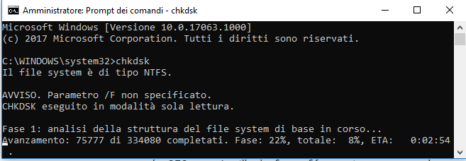 Sfc e chkdsk scansione