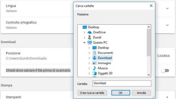 Cambia la cartella di download predefinita di google chrome