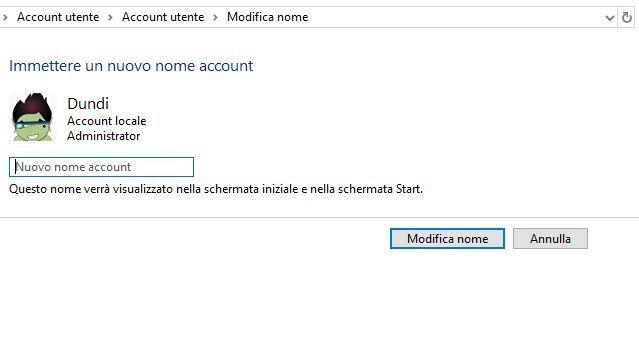 Come cambiare il nome del profilo in windows 10