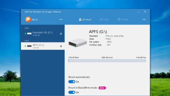 Aprire unita con il formato apfs in windows 10