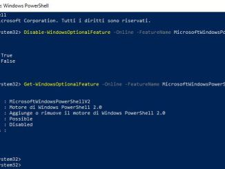 Disabilitare motore powershell disabled