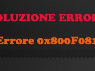 Soluzione errore 0x800f081f