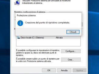 Come creare un punto di ripristino del sistema in windows 10