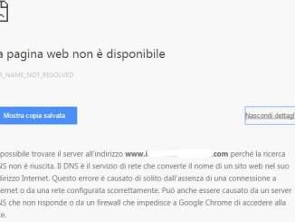 Err name not resolved la pagina web non è disponibile