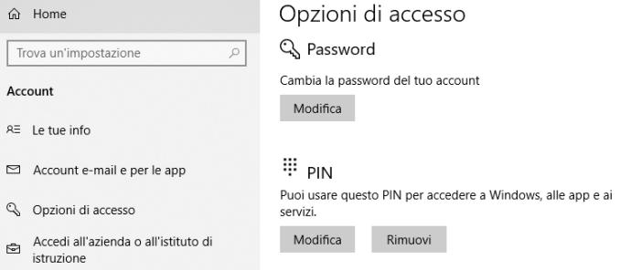 Windows 10 opzioni di accesso