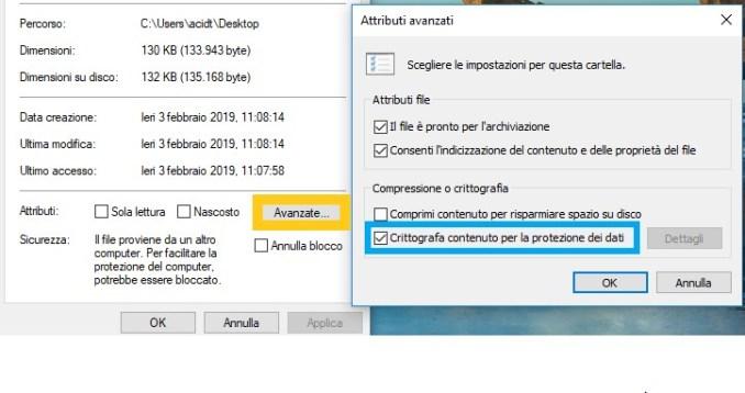 Crittografare file e cartella su windows 10
