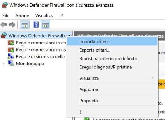 Esportare le regole del firewall in windows 10