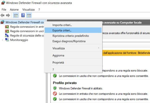 Windows firewall con sicurezza avanzata