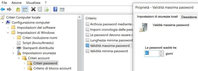 Windows 10 validita massima password