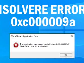 Impossibile avviare correttamente lapplicazione 0xc000009a