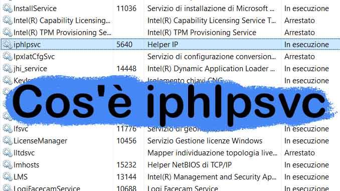 Cose iphlpsvc come disattivare o riattivare in windows 10