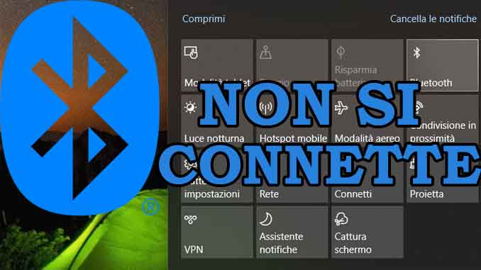 Impossibile inviare o ricevere file via bluetooth su windows 10