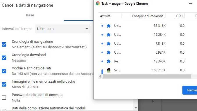 Come ridurre utilizzo della memoria su google chrome