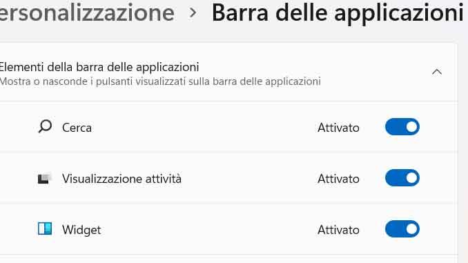 Windows 11 come rimuovere o aggiungere il widget nella barra delle applicazioni
