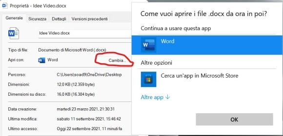 Cambiare il programma predefinito in windows 11