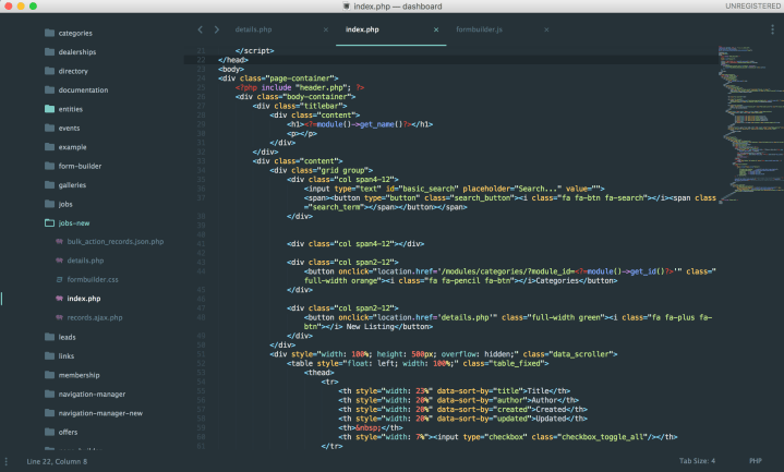 Sublime Text 3 php editor