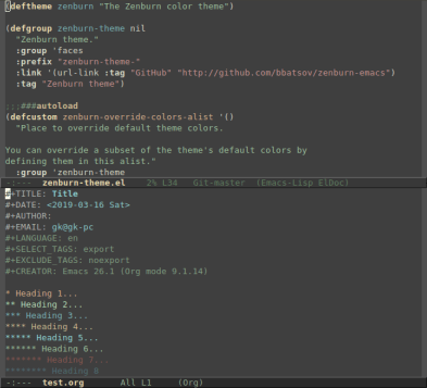 zenburn theme for emacs