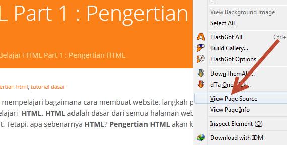 Cara Melihat Source Code HTML