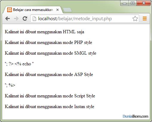 Cara Memasukkan kode PHP kedalam HTML - Error PHP