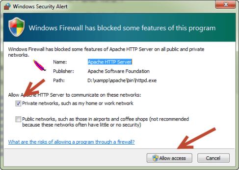 Cara Menginstall XAMPP - Jendela Blokir Firewall