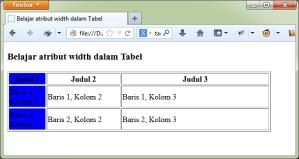 Contoh atribut width pada tag col HTML