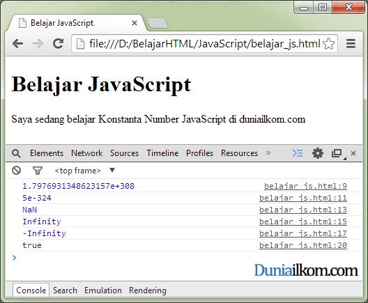 Contoh Penggunaan Property atau Konstanta Objek Number dalam JavaScript
