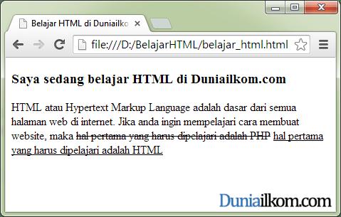 Contoh Cara Membuat Huruf Garis Bawah (underline) dalam HTML - tag ins