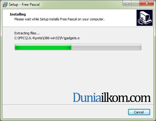 Proses Instalasi Free Pascal - Instalasi Sedang Berjalan