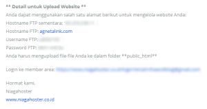 Informasi FTP dari web hosting