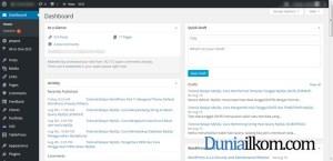 Tampilan Halaman Dashboard WordPress Duniailkom