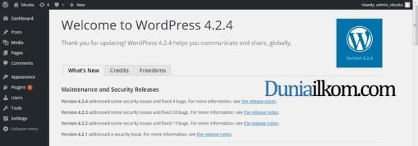 Wordpress berhasil di update