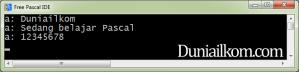 Tampilan kode program pascal untuk tipe data string