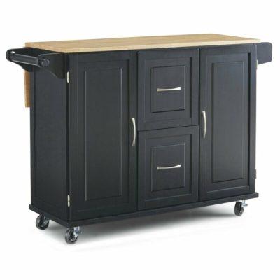 Meja Dapur Top Kayu Solid dan Roda Pengunci