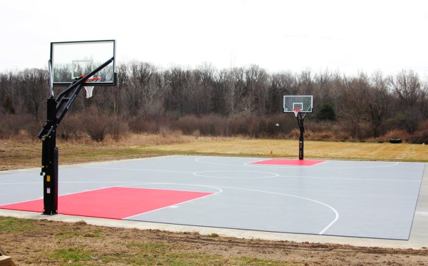 Red and Gray Basketball Court