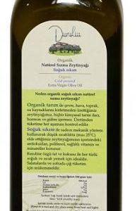 Dunolia organik zeytinyağı 750 ml şişe arka yüz