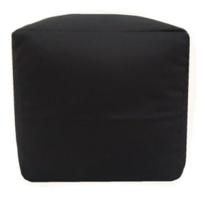 black cotton drill cube fabric footstool pouffe