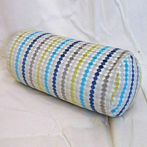 blue multi fabric streamer effect pattern cylinder bolster cushion
