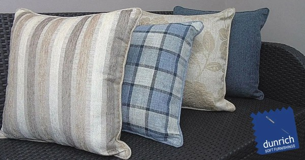 brown blue check pattern scatter cushion covers fb