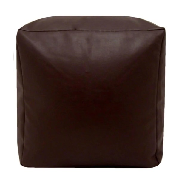 brown faux leather cube footstool