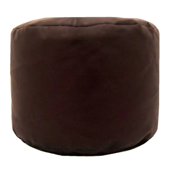 brown faux leather large round pouffe