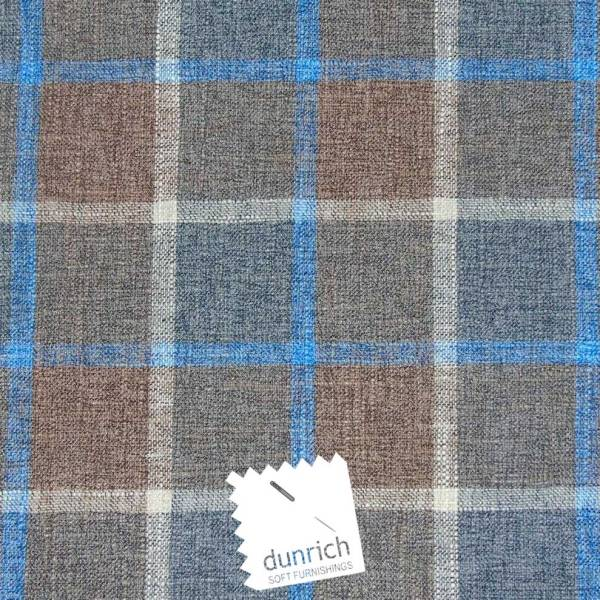brown with blue check pattern fabric to order