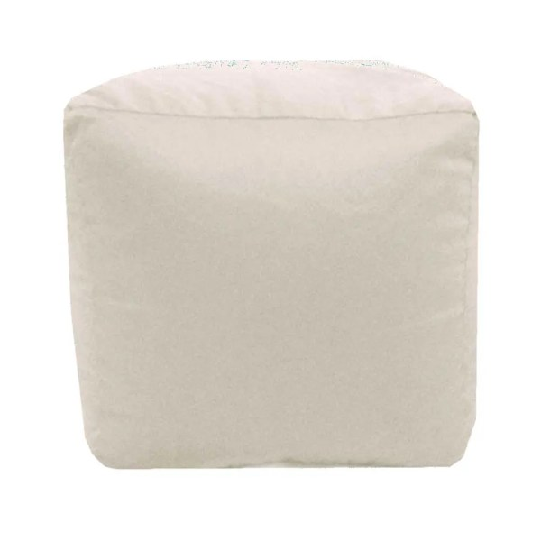 cream natural cotton drill cube fabric footstool pouffe