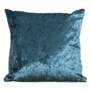 crushed velvet cushion aqua blue